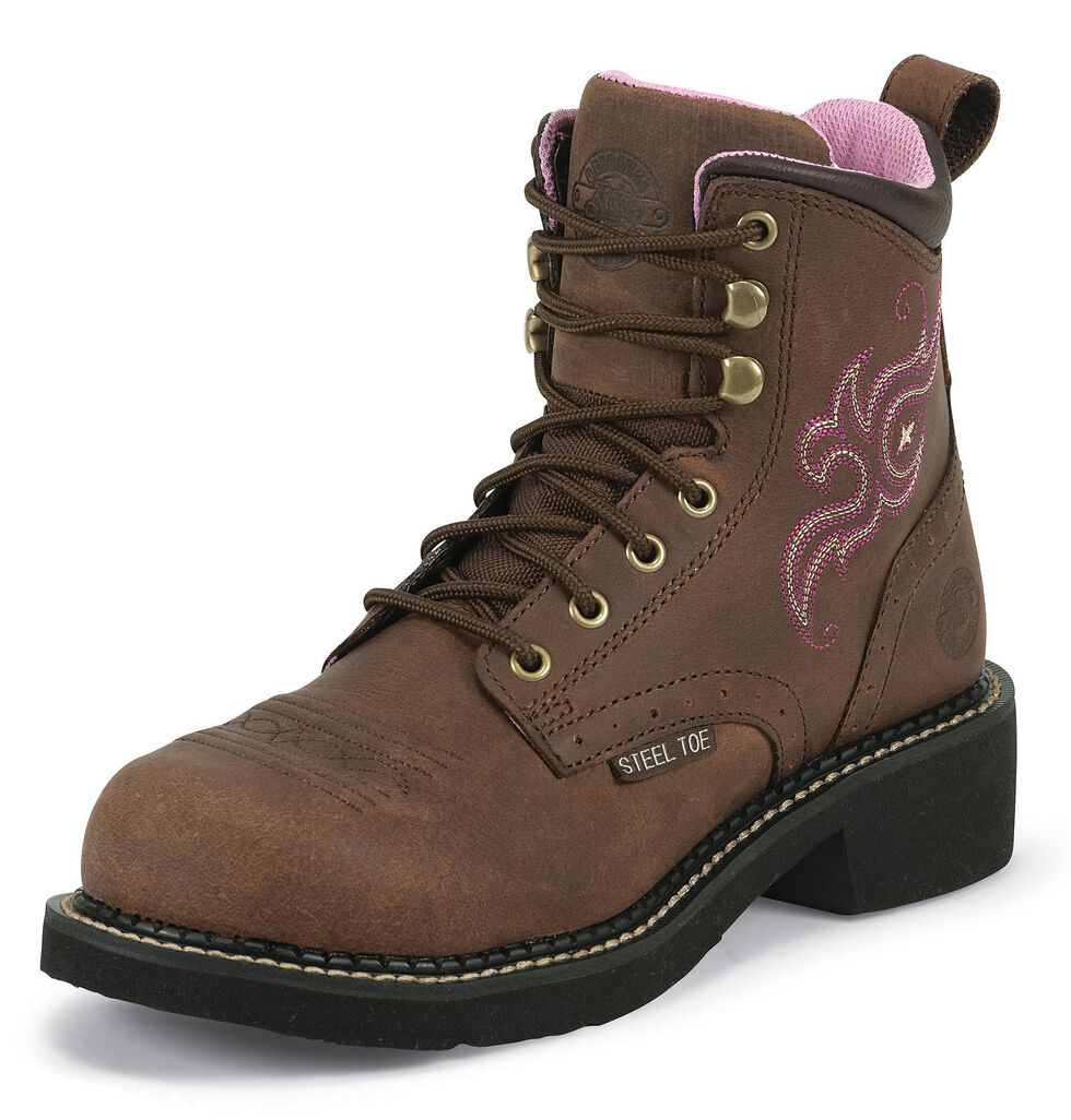 """Justin Gypsy Women's 6"""" Katerina Aged Bark Lace-Up EH Work Boots - Steel Toe, Aged Bark, hi-res"""