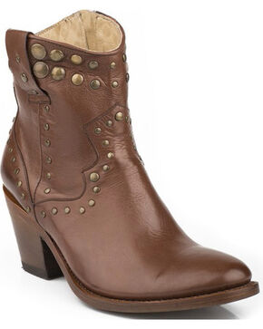 Stetson Tan Studded Short Cowgirl Boots - Round Toe, Whiskey, hi-res