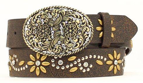 Nocona Floral Studded Crackle Belt, Brown, hi-res