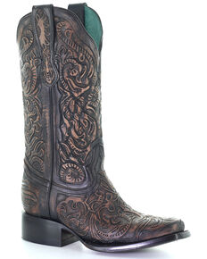 Corral Women's Black Tooled Western Boots - Square Toe, Black, hi-res