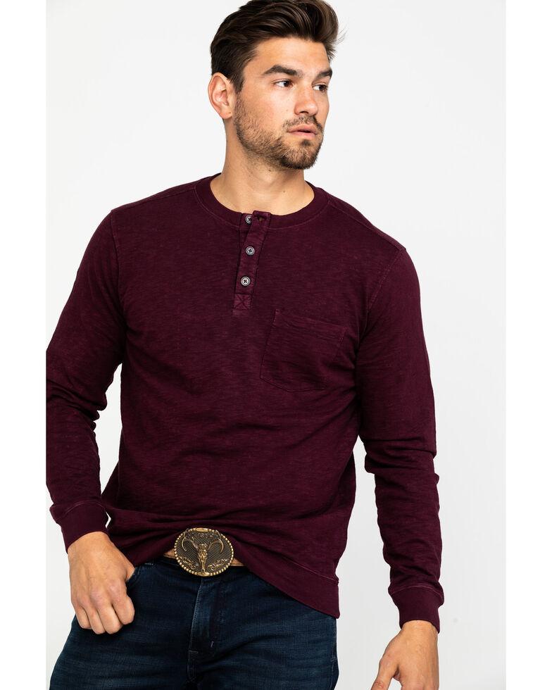 Moonshine Spirit Men's Burgundy Tacoma Distressed Wash Long Sleeve Shirt  , Burgundy, hi-res