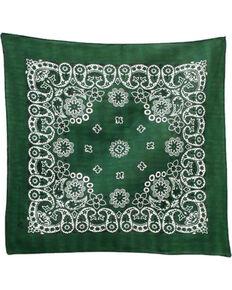 M & F Western Dark Green Paisley Print Bandana , No Color, hi-res