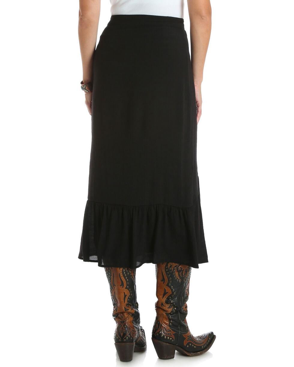 Wrangler Women's Button-Up Skirt with Flounce Hem , Black, hi-res