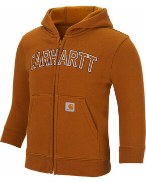 Carhartt Toddler Boys' Logo Fleece Zip Hoodie, Brown, hi-res