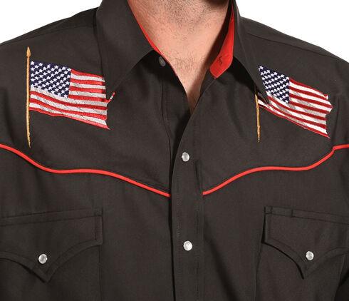 Ely Cattleman Men's Black American Flag Western Shirt , Black, hi-res