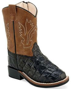 b4ac99176 Old West Toddler Boys Faux Leather Western Boots - Wide Square Toe, Black,  hi