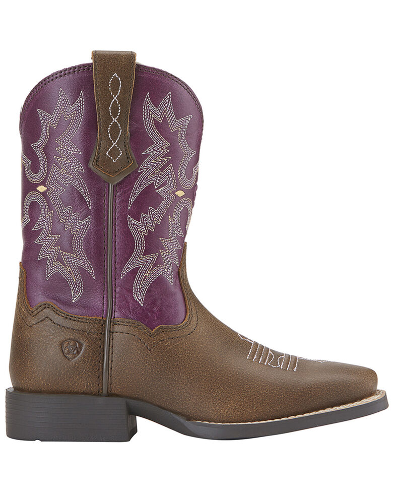 Ariat Girls' Tombstone Boots - Square Toe, Bomber, hi-res