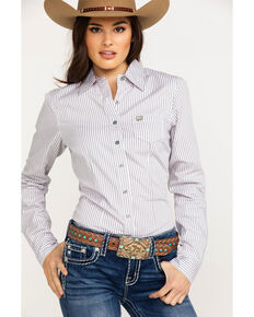 b8538c54 Cinch Womens Striped Logo Button Long Sleeve Western Shirt , Multi, hi-res