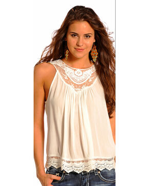 Panhandle Slim Women's Cream Crochet Lace Inset Tank Top , Cream, hi-res