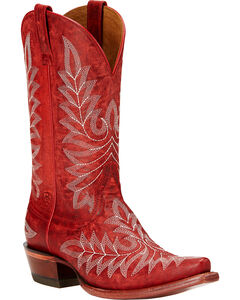 Ariat Brooklyn Cowgirl Boots - Snip Toe , Red, hi-res
