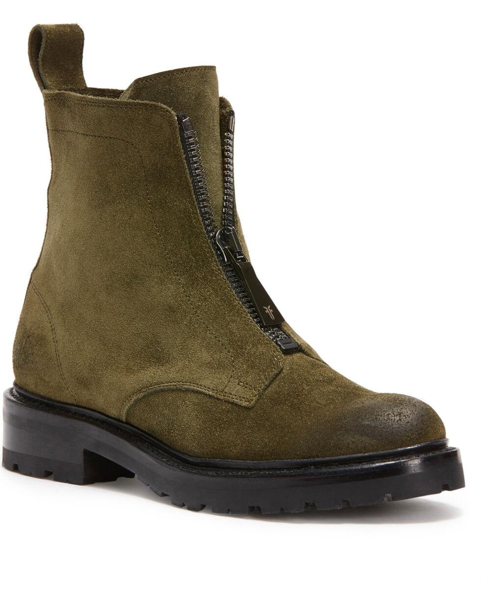 Frye Women's Dark Green Julie Front Zip Boots - Round Toe, Dark Green, hi-res