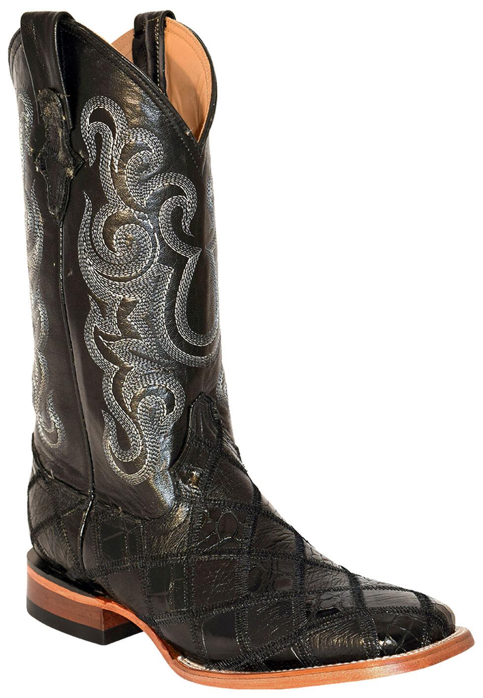 Ferrini Men's Gator Ostrich Patchwork Cowboy Boots - Square Toe, Black, hi-res