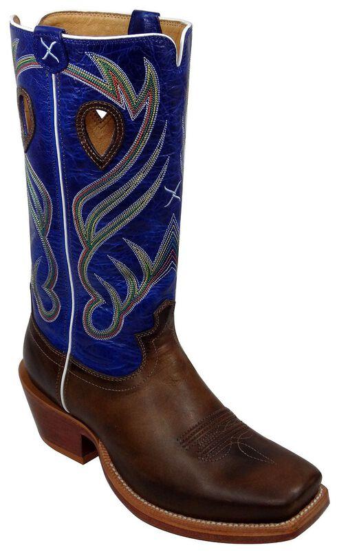 Twisted X Ruff Stock Cowboy Boots - Wide Square Toe, Peanut, hi-res