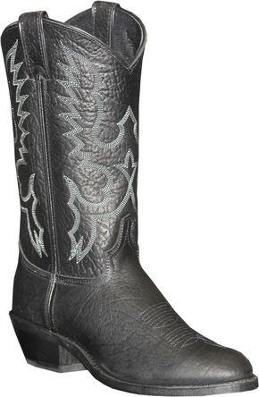 Abilene Sage Black Cowboy Boots - Round Toe, Black, hi-res