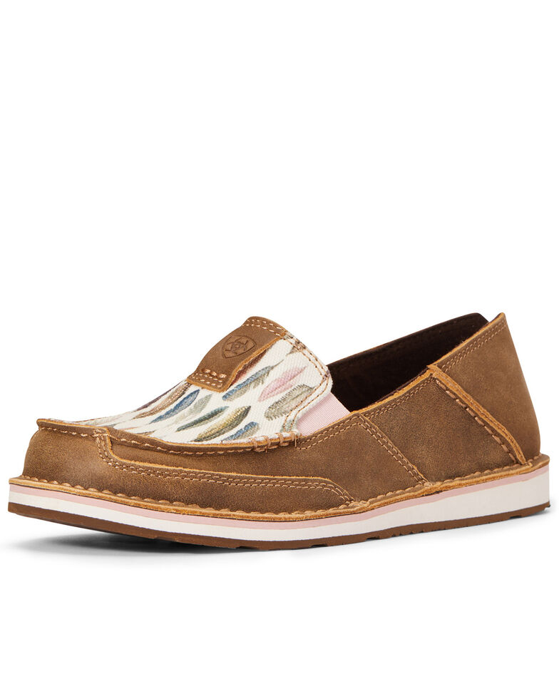 Ariat Women's Watercolor Feather Cruiser Shoes - Moc Toe, Brown, hi-res