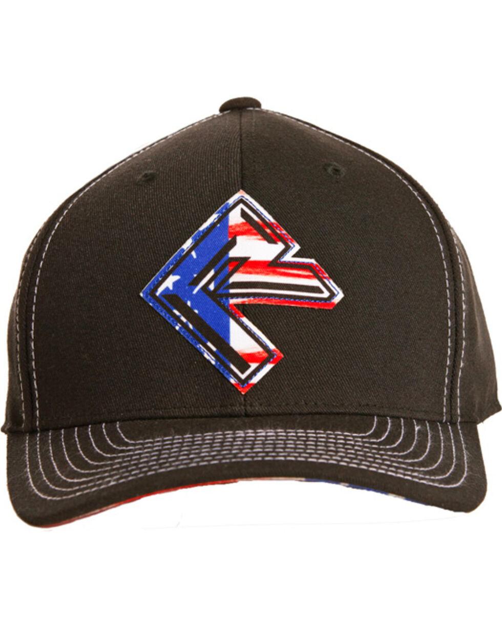 Rock & Roll Cowboy Men's Flag Screen Print Cap, Black, hi-res