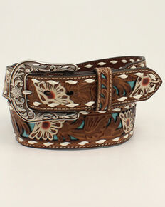 M & F Western Women's Brown & White Floral Leather Belt, Brown, hi-res
