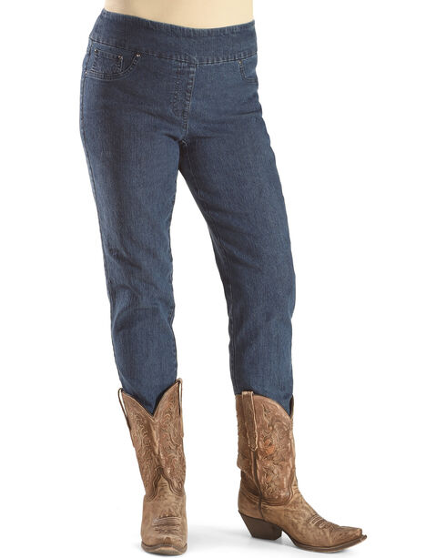 Ruby Road Women's Stretch Faux Pocket Jeans , Indigo, hi-res