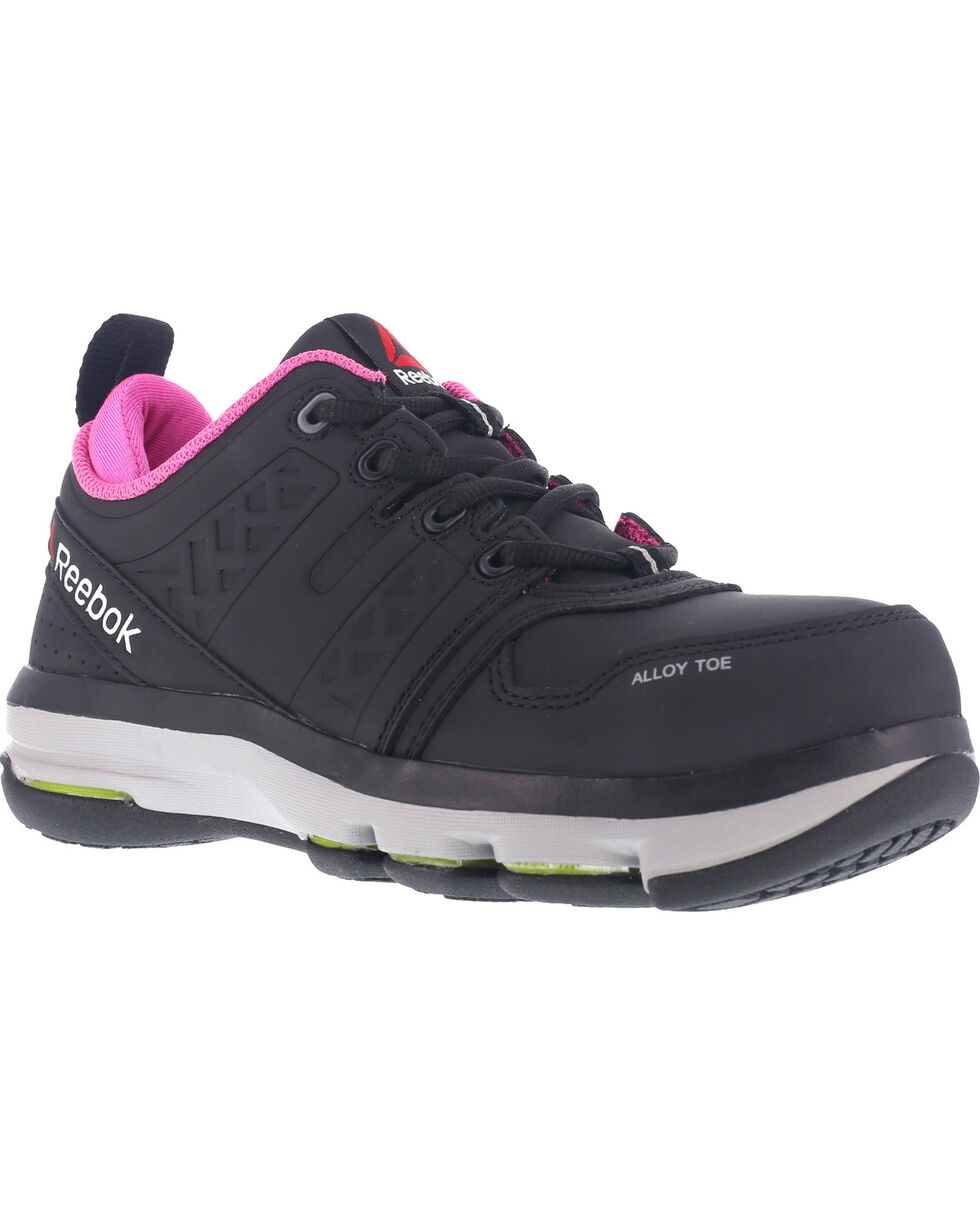 Reebok Women's Athletic Oxford DMX Flex Work Shoes - Alloy Toe , Black, hi-res