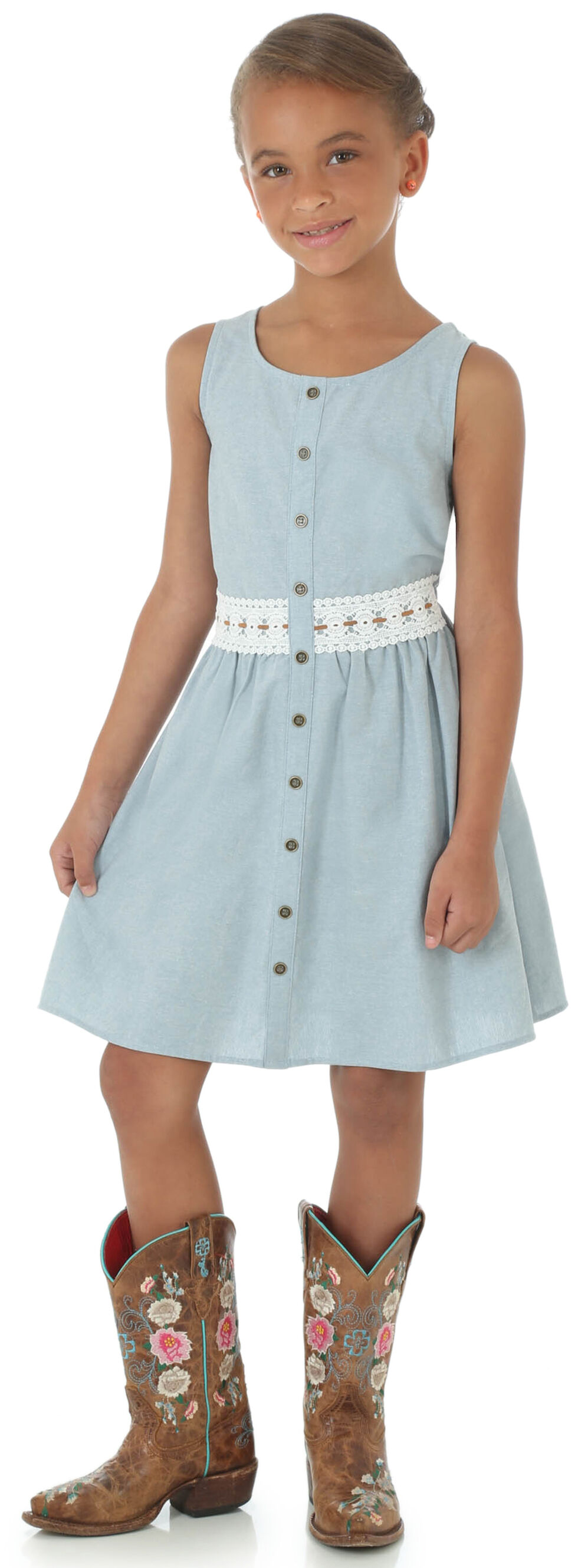Wrangler Girls' Sleeveless Button Placket Crocheted Trim Dress, Blue, hi-res