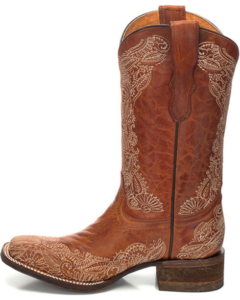 Corral Youth Girls' Distressed Leather Cowgirl Boots - Square Toe , Honey, hi-res