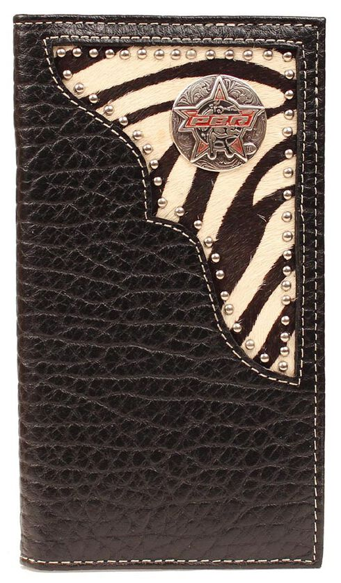 PBR Zebra Print Hair-on Hide Concho Rodeo Wallet, Black, hi-res
