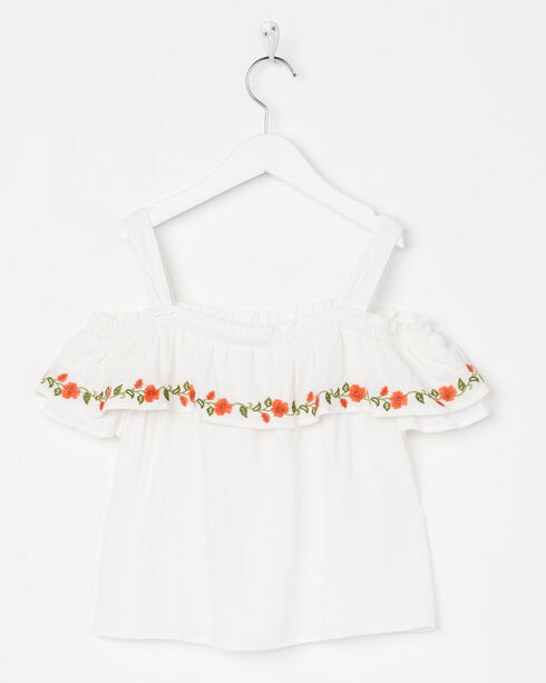 Miss Me Girls' White Floral Bliss Off-The-Shoulder Top , White, hi-res