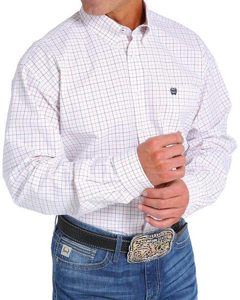 Cinch Men's White Long Sleeve Western Plaid Shirt , White, hi-res