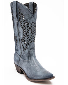 c757766047823 Laredo Womens Chopped Out Suede Western Boots - Snip Toe, Navy, hi-res