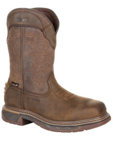 Rocky Men's Iron Skull Waterproof Western Work Boots - Composite Toe, Distressed Brown, hi-res