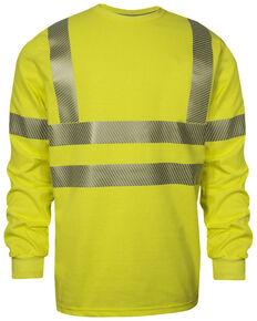National Safety Apparel Men's 2X-3X FR Vizable Hi-Vis Long Sleeve Work T-Shirt - Tall , Bright Yellow, hi-res