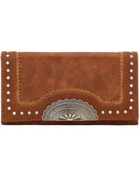 Bandana Women's Guns & Roses Studded Flap Wallet , Rust Copper, hi-res
