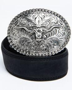 Cody James Boys' Longhorn Plaque Buckle Belt, Black, hi-res