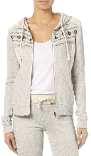 Miss Me Women's Heather Grey Crochet Hoodie , Hthr Grey, hi-res
