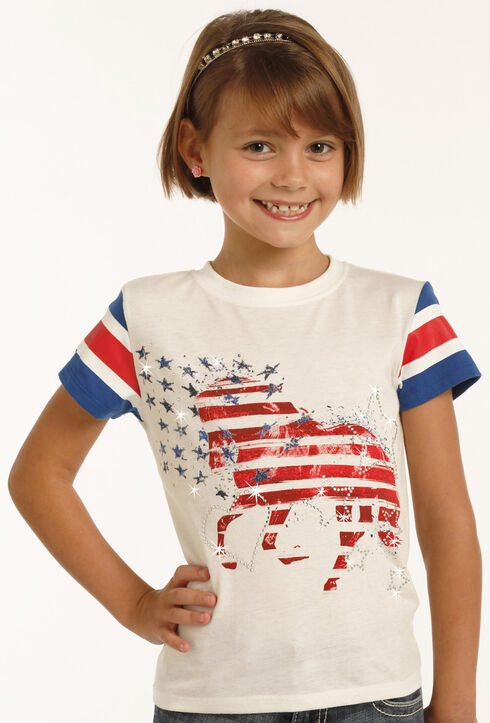 Rock & Roll Cowgirl Girls' White Stars and Strips Horse Tee , White, hi-res