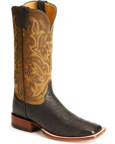 Justin Men's Smooth Ostrich AQHA Remuda Western Cowboy Boots - Square Toe, Black, hi-res