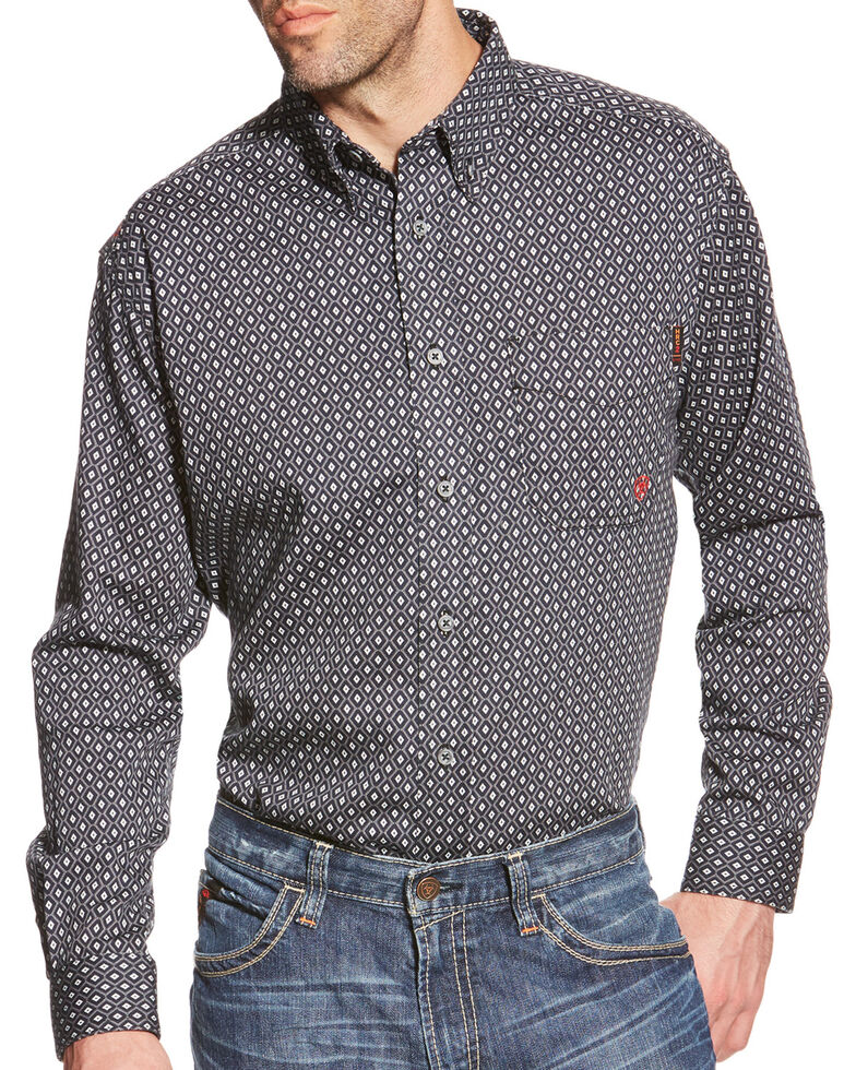 Ariat Men's FR Tyler Foulard Geo Print Long Sleeve Western Shirt , Black, hi-res