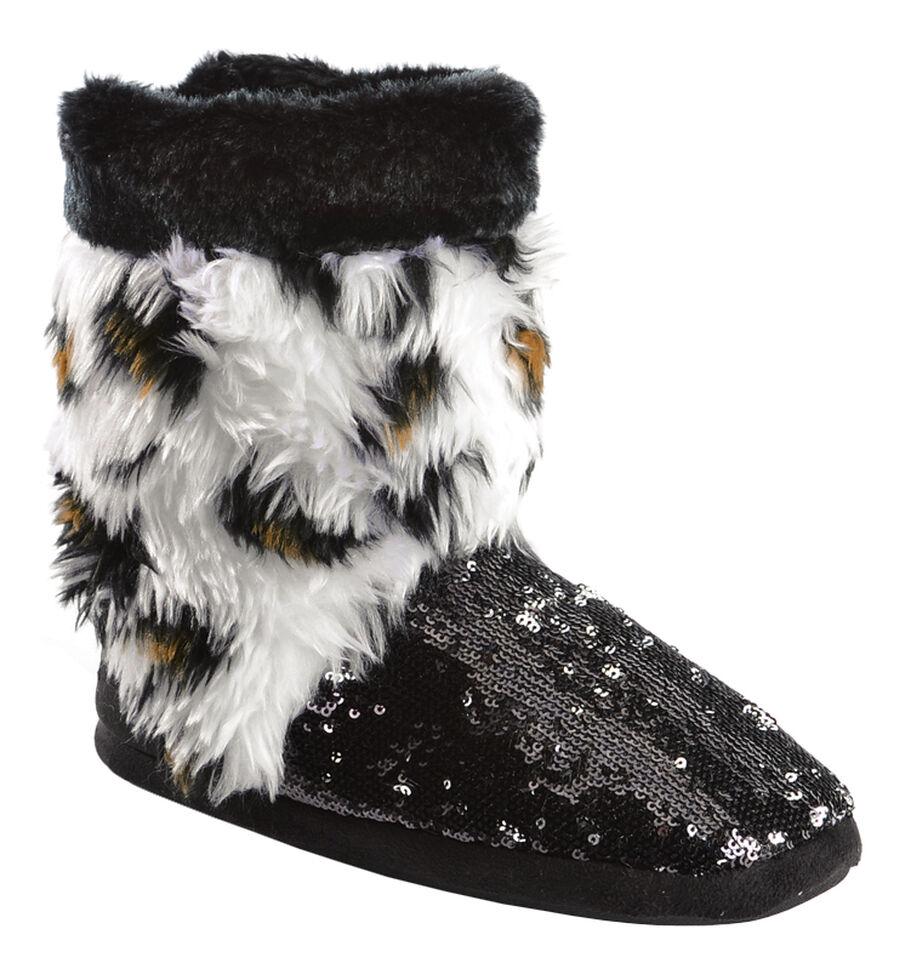 Blazin Roxx Youth Girls' Plush Leopard Print Sequin Bootie Slippers, Black, hi-res