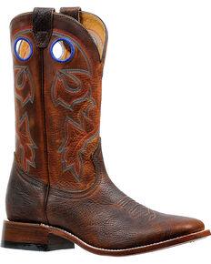 Boulet Men's Bison Shrunken Old Town Stockman Cowboy Boots - Square Toe, Brown, hi-res