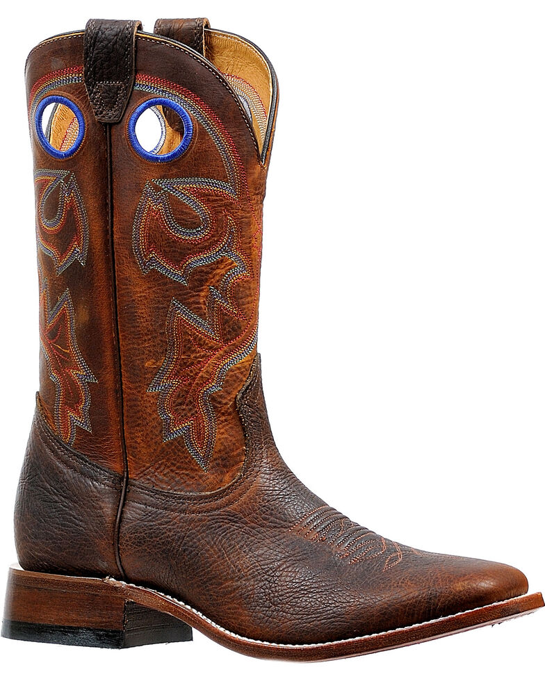 Boulet Men's Bison Shrunken Old Town Stockman Cowboy Boots - Square Toe, Brown, hi-res