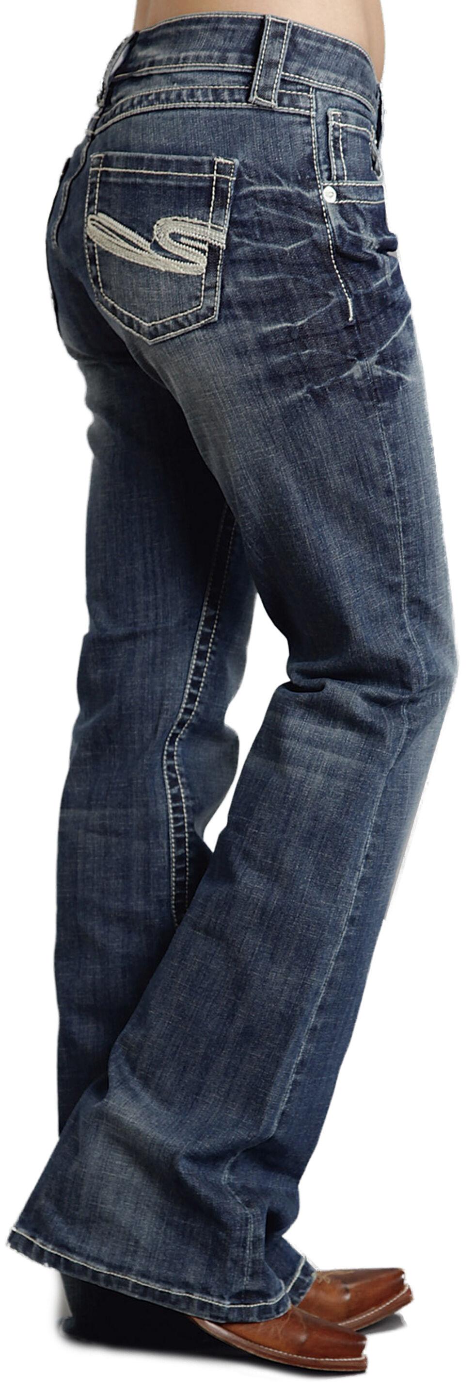"Stetson Women's 816 Fit White ""S"" Stitch Bootcut Jeans - Plus, , hi-res"