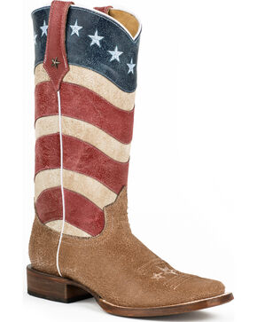 Roper Vintage American Flag Cowgirl Boots - Square Toe, Multi, hi-res