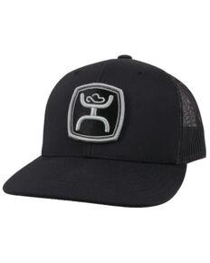 HOOey Men's Black Zenith Logo Patch Mesh-Back Trucker Cap , Black, hi-res