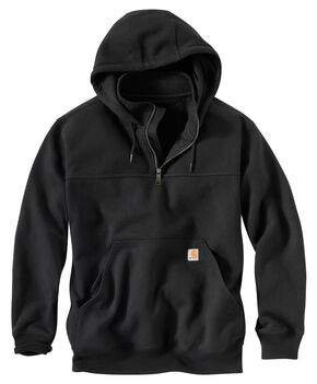 Carhartt Rain Defender Paxton Hooded Zip Mock Sweatshirt - Big & Tall, Black, hi-res