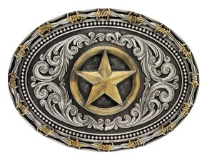 Montana Silversmiths Classic Impressions Two-Tone Lone Star Attitude Belt Buckle, Multi, hi-res