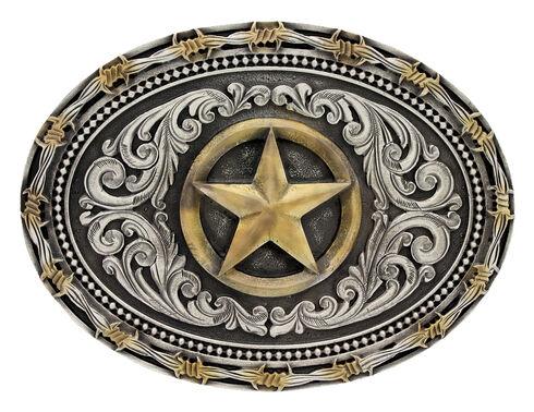 Montana Silversmiths Classic Impressions Two-Tone Lone Star Attitude Belt Buckle, Multi, hi-res