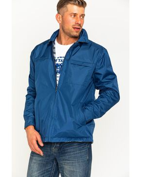 China Leather Men's Navy Reversible Plaid Jacket , Navy, hi-res