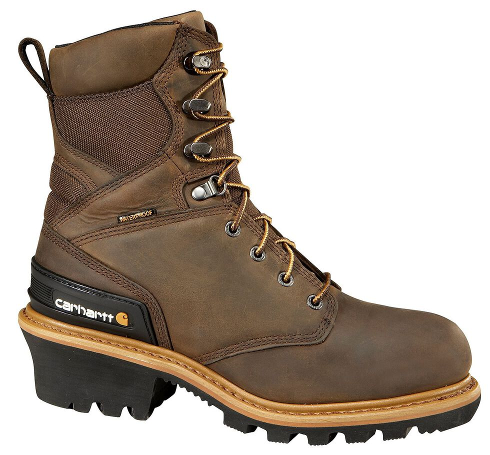 """Carhartt 8"""" Brown Waterproof Insulated Logger Boots, Crazyhorse, hi-res"""
