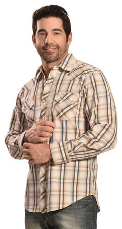 Ely Cattleman Men's 1878 Dobby Plaid Long Sleeve Snap Shirt, Tan, hi-res