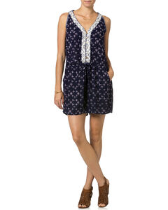 Miss Me Navy Embroidered Sleeveless Romper , Navy, hi-res
